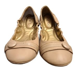 Me Too Nude Nappa Ballet Flats with Button
